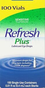 Refresh Plus Lubricant Eye Drops 100 Preservative Free Single Use Vials Dry Eyes