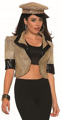 Disco Fever Halloween Costumes (Gold Cropped Jacket 70's Disco Fever Fancy Dress Up Halloween Adult)