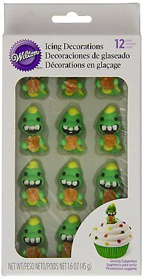 WILTON DINO ICING DECORATION 12 PACK CUP CAKE TOPPER DINOSAUR WITH GUMDROP NEW