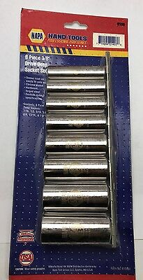 NAPA 8 Piece easy to read 3/8 Drive Deep well chrome Socket Set SAE 6109 - USA