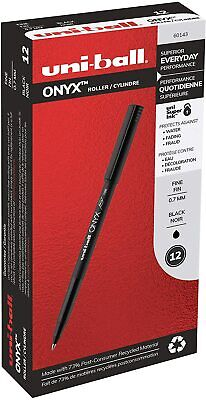 Uni-ball Onyx Roller Ball Pen Fine Point 0.7mm Black 12 Count Ball Point Pen Uni