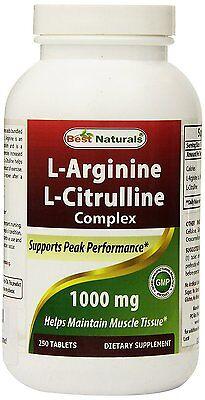 Best Naturals L Arginine L Citrulline Complex 1000 Mg 250 Tablets
