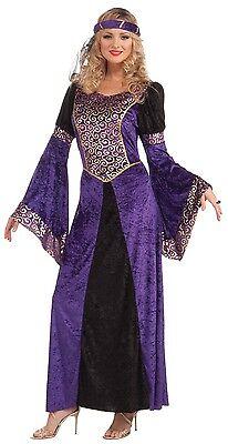 Damen Sexy Lila Mittelalterlich Renaissance Tudor Königin Kostüm Kleid Outfit