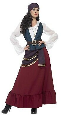 Lady Luck Costume (Ladies Deluxe Pirate Gypsy Fortune Teller Fancy Dress Costume Outfit UK)