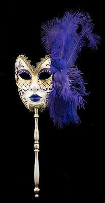 Mask Venice to stick Feathers ostrich Violet-Carnival venitien-2228 TG5