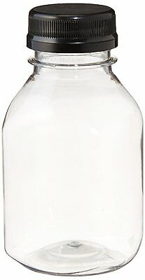 (8) 8 oz. Clear Food Grade Plastic Juice Bottles with Black Caps