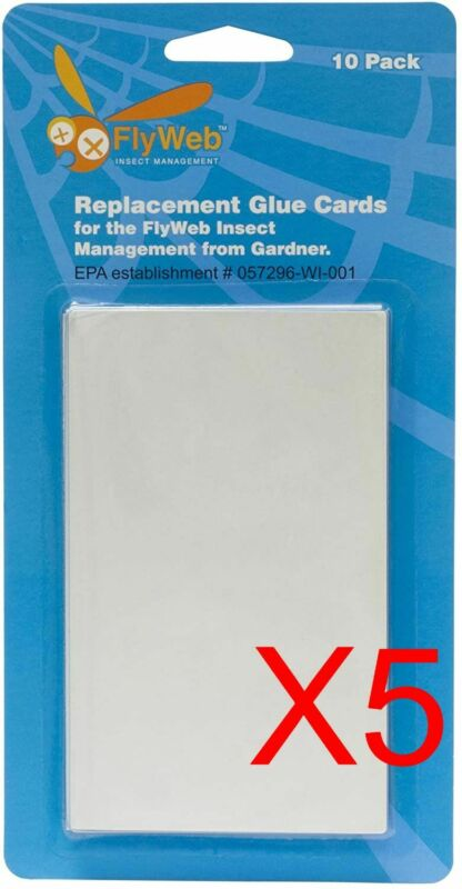 (LOT OF 5) FlyWeb Fly Trap Light Replacement Glue Boards 10 Pack