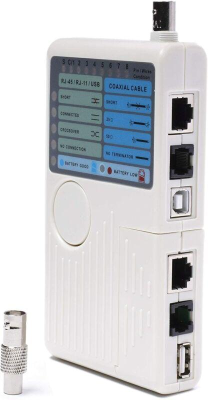 Universal Network Cable Tester Tool, BNC, RJ45, RJ11, USB (4-in-1) Multi-Tester