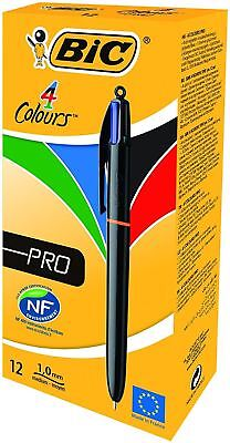 Bic 4 Colour Pro Pen Ballpoint 4 in 1 Assorted Colours - Pack 12 - FREE P&P