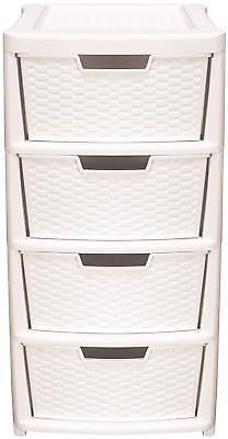 Premier Rattan 4 Drawer Tower Cream Home Plastic Storage Unit Office Bedroom Box ()