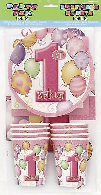 Erster Geburtstag Pink - Partygeschirr Pack für 8 - Serviette Teller Becher