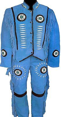 Mens/Womens Western Blue Suede Leather Suit Jacket Pants Bone Bead Fringe dress
