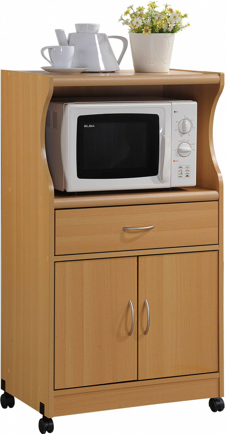 Rolling Microwave Kitchen Cart with Drawer Cabinet Shelves,