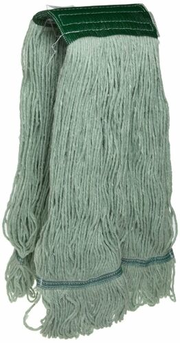 JaniMop Looped End Pro Green Mop Head, Wide Band, Large, Case of 12