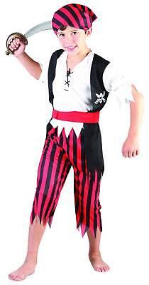 Piratenkostüm mit Fransen für Jungen schwarz-rot-weiss Cod.171373