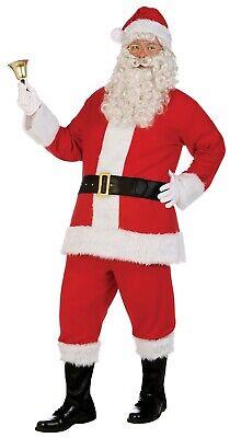Herren Weihnachtsmann St. Nick Rot Flanell Anzug Kunstleder Pelz