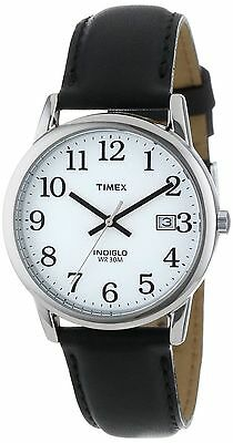 Timex T2H281, Men's Easy Reader Black Leather Watch, Indiglo, Date