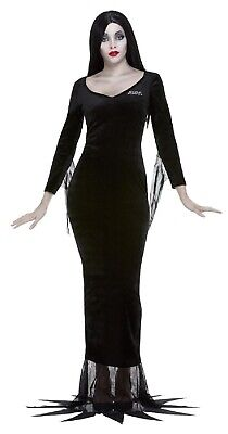 Ladies Official Morticia Addams Family Fancy Dress Costume Outfit & Wig UK 8-22