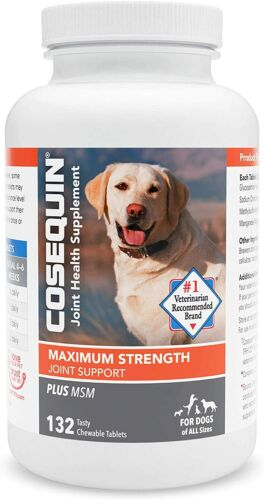 Cosequin Maximum Strength MSM - Dogs All Sizes (132 Chewable Tablet) NEW 04/2024