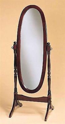 Chy Full Length Oval Floor Standing Mirror Wood Swivel Tilt Cheval Bedroom Stand