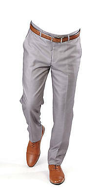 Slim Fit Dress Slacks Silver Grey Flat Front Pants Modern Tailored Fitted AZAR - Tailored Dress Pants