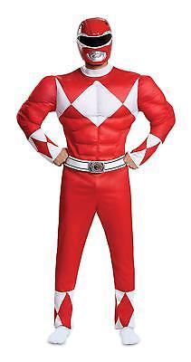 Red Ranger Mighty Morphin Power Rangers Fancy Dress Up Halloween Adult Costume