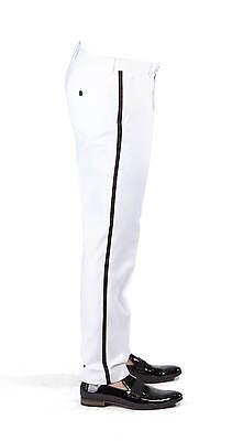 Tailored Slim Fit Tuxedo White Separate Dress Pants Slacks Flat Front AZAR MAN Gabardine Slim Pants