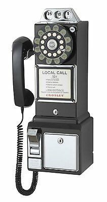 Crosley 1950's Classic Pay Phone - Black CR56-BK New