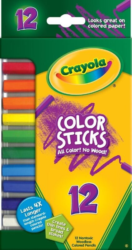 Crayola 2312 Color Sticks Woodless 12 Pack Colored Pencils Art NEW!
