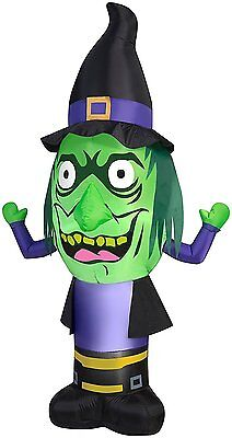 GEMMY Airblown Inflatable Stumpy Head Witch Outdoor Decor, 7-Feet Halloween (Halloween Witch Outdoor Decorations)