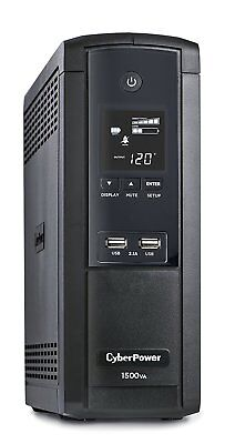 (CyberPower Intelligent UPS 1500VA/900W System LCD USB 12 Outlets AVR Mini-Tower)