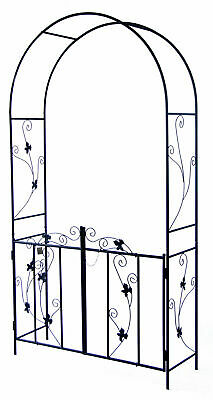 Woodside Decorative Metal Garden Arch With Gate Outdoor Climbing Plants Archway