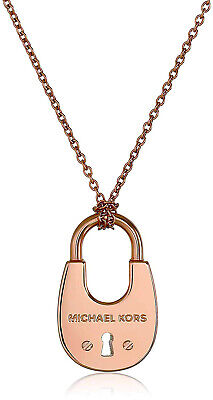 Michael Kors Women Cityscape Hardware Rose Gold Padlock Long Necklace MKJ4635791