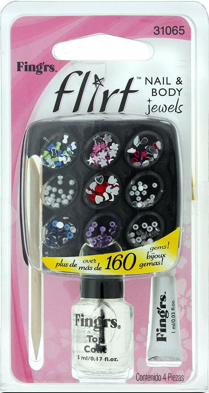 Fing''rs Flirt - Nail & Body Jewels Art Set inc 160 Gems, Top Coat, Body Glue