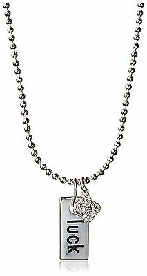 Dolce Vetra Sterling Silver 925 Luck Tag & Cubic Zirconia Clover Charm Necklace