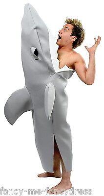 Herren Grau Hai biss Rachen Fest Stag Halloween Kostüm Kleid Outfit
