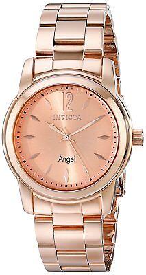 New Womens Invicta 17421 Angel Rose Gold Tone Bracelet Watch