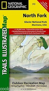 National Geographic Trails Illustrated Montana Glacier N Park North Fork Map 313