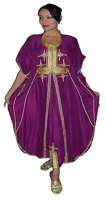 Moroccan Caftan Women kaftan Abaya Beach Cover Summer Long Dress Cotton Purple