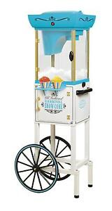 Rolling Cart Snow Cone Machine Ice Vintage Shaver Crusher System