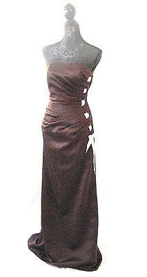 Forever Yours Dress Cocoa sexy strapless Pleated Formal Gown bow SZ 4  fit 6
