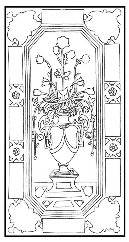 "Rug Hooking Pattern ""ITALIAN VASE"" on natural linen"