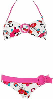 Protest Damen Neckholder Bandeau Bikini abnehmbare Softpads Blumen Rosa S A5940
