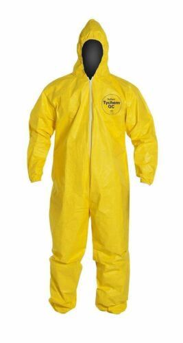 Dupont Tychem 2000 Yellow Coverall Hood,Elastic Wrists & Ankles Various Sizes