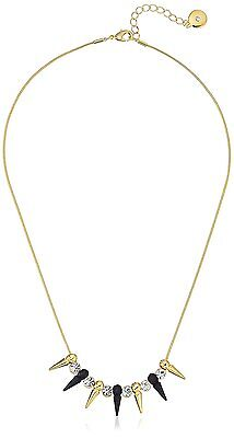 "Fragments 18"" Gold Plated Alternate Spike & Bezel Cubic Zirconia Necklace NWT"