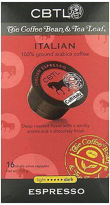 CBTL Italian Espresso Dark Capsules By The Coffee Bean and Tea Leaf, 16-Count Bo