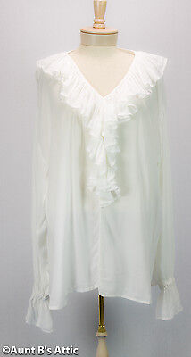 Pirate Blouse White Light Weight Rayon V-Neck Ruffled Front Ladies Costume XXL