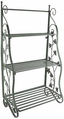 Tiered Flower Stage Classic Metal Plant Display Stand Green Plant Theatre