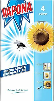 Vapona Fly Killer Trap Window Sticker Original Sunflower Catcher Pack of 4