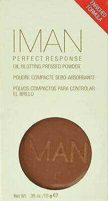 Lot of 2 IMAN Perfect Response Oil Blotting Pressed Powder - MEDIUM DEEP .35 oz